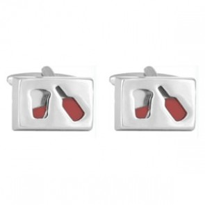 Red Wine Bottle And Glass Cufflinks