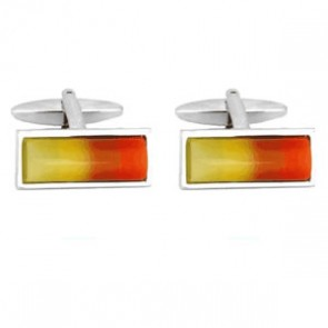 Rectangular Yellow And Red Cufflinks