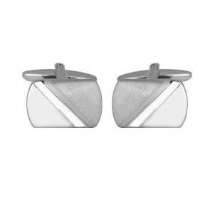 Diagonal Line Brushed And Smooth Effect Cufflinks