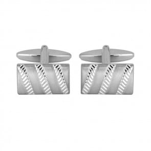 Brushed And Ribbed Effect Cufflinks