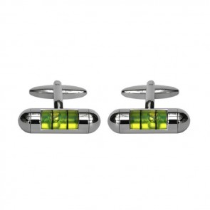 Green Spirit Level Shaped Cufflinks