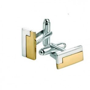 Sterling Silver Gold Plated Rectangle Cufflinks