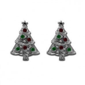 Christmas Tree With Coloured Stones Cufflinks