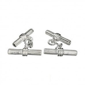 Sterling Silver Grooved Bar Large Cufflinks