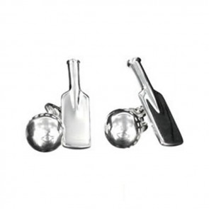 Sterling Silver Cricket Ball And Bat Cufflinks