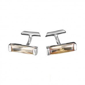 Sterling Silver Peach Cubic Zirconia Strip Cufflinks