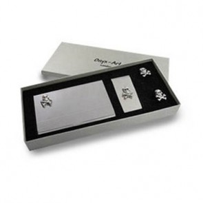 Skull & Crossbones Business Card Holder, Money clip & Cuffs Set