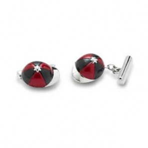 Red And Black Jockey Cap Cufflinks