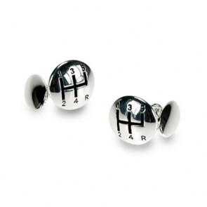 Silver Plate Gear Shift Chain Link Cufflinks