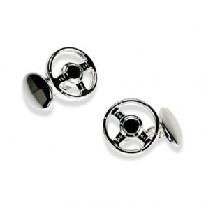 Silver Plate Steering Wheel Chain Link Cufflinks