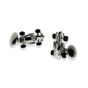 Silver Plate Racing Car Chain Link Cufflinks