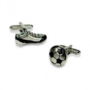 Silver Football And Boot Cufflinks