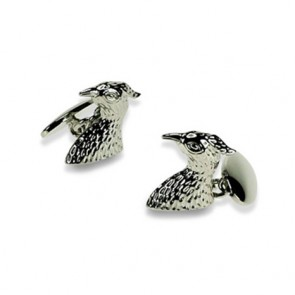 Silver Plate Falcon Chain Link Cufflinks