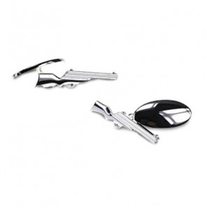 Silver Plate Rifle Chain Link Cufflinks