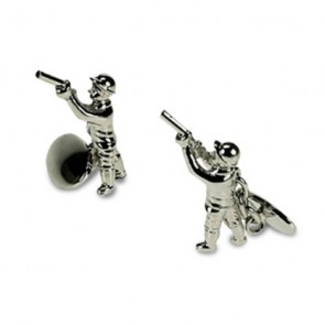 Silver Plate Shooting Chain Link Cufflinks