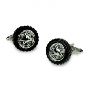 Black And Silver Tyre Cufflinks