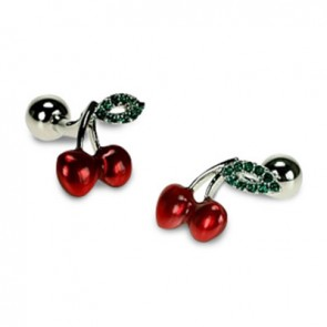 Red Cherries And Green Crystal Cufflinks