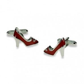 Red Shoes With Crystals Cufflinks