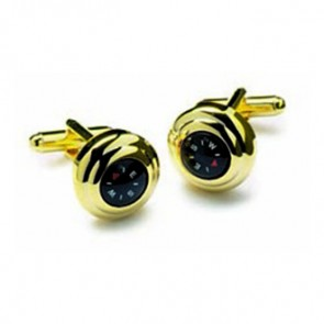 Polished Gold Compass Cufflinks