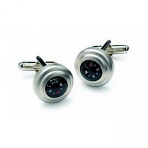 Satin Silver Compass Cufflinks