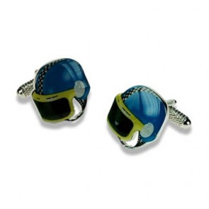 Blue And Yellow Motor Bike Helmet Cufflinks