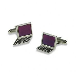Silver And Purple Laptop Cufflinks
