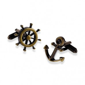 Wheel And Anchor Burnished Gold Cufflinks