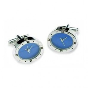 Oval Silver And Blue Watch Face Cufflinks