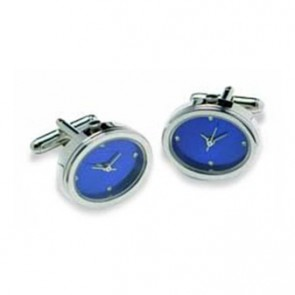 Oval Silver And Blue Watch Style Cufflinks