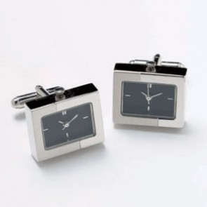 Silver And Black Dual Finish Watch Cufflinks