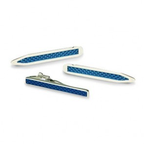 Blue Rhodium Collar Stiffeners And Tie Bar