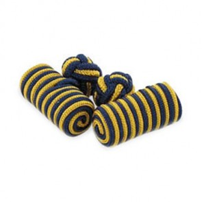 Navy And Gold Silk Knot Cufflinks