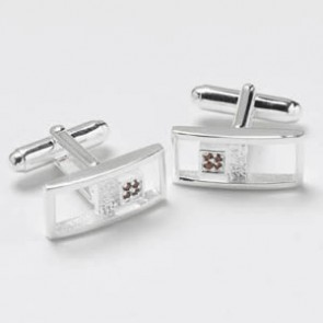 Silver Buckle Red Cz Cufflinks