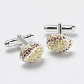 Silver Yellow And Red Cz Cufflinks