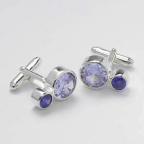 Dual Circle Lilac And Purple Cz Cufflinks