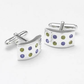 Silver Multicoloured Cz Cufflinks