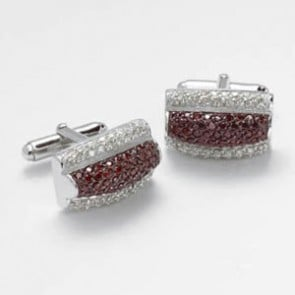 Clear And Red Cz Cluster Cufflinks
