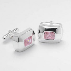 Rectangluar Pink Cz Cufflinks