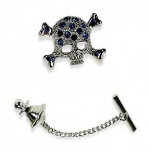 Skull And Crossbones Sapphire Crystal Tie Pin