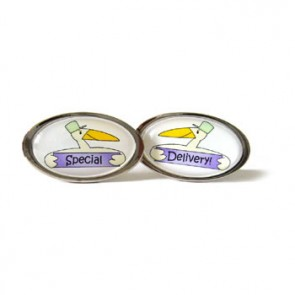Special Delivery Stork Lilac Oval Cufflinks