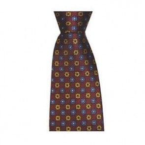 Wine And Blue Flowers Tie