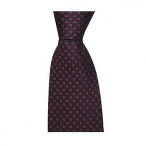 Navy And Red Diamond Spot Tie