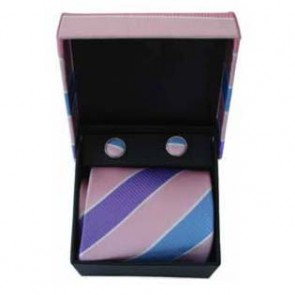 Pink And Purple Thick Stripe Cufflinks And Tie Gift Box