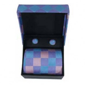Pink And Purple Check Tie And Cufflinks  Gift Box