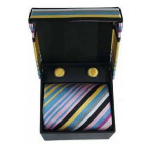 Pink Blue And Black Check Cufflinks And Tie Gift Box