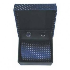 Blue And White Spot Cufflinks And Tie Gift Box