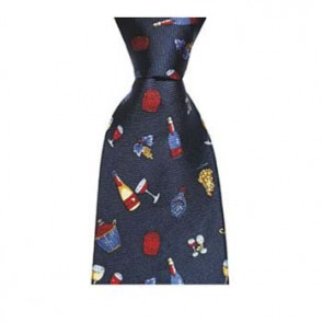 Navy Blue Wine Bottle Pattern Tie