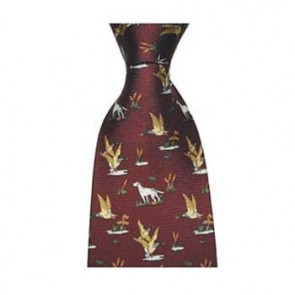 Wine Duck And Gun Dog Tie