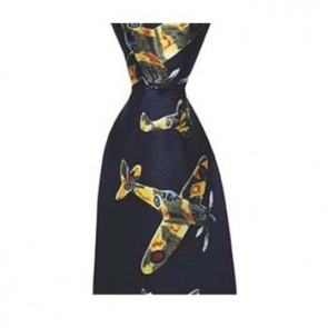 Navy Blue Fighter Plane Patterned Tie