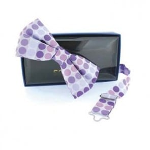 Pink And Purple Spot Pre Tied Bow Tie